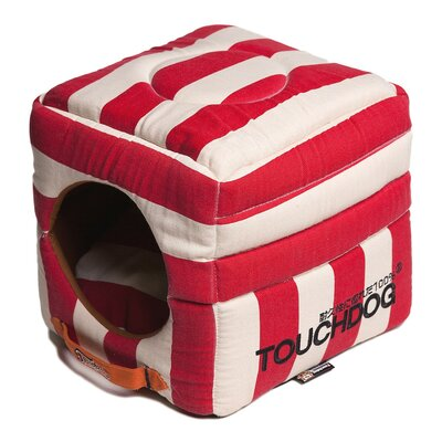 Polo-Striped Convertible and Reversible Squared 2-in-1 Collapsible Dog House Bed Color: Red