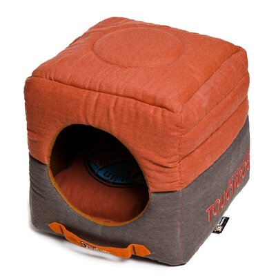Convertible and Reversible Vintage Printed Squared 2-in-1 Collapsible Dog House Bed Color: Orange