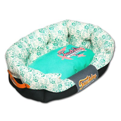 Floral-Galore Ultra-Plush Rectangular Rounded Designer Dog Bed Size: Large (29.6 L x 19.7 W), Color: Blue