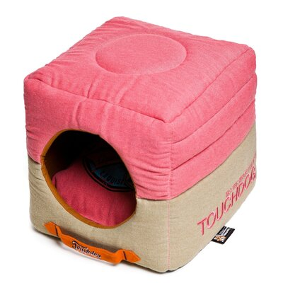 Convertible and Reversible Vintage Printed Squared 2-in-1 Collapsible Dog House Bed Color: Pink