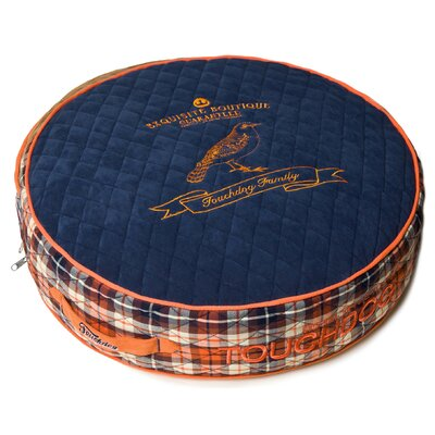 Bark-Royale Posh Rounded and Raised Designer Fleece Plaid Dog Bed Size: Small (21.7 L x 21.7 W), Color: Dark Blue