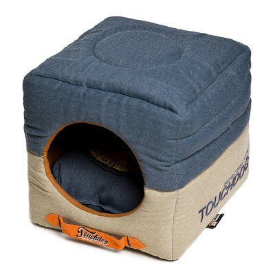 Convertible and Reversible Vintage Printed Squared 2-in-1 Collapsible Dog House Bed Color: Blue