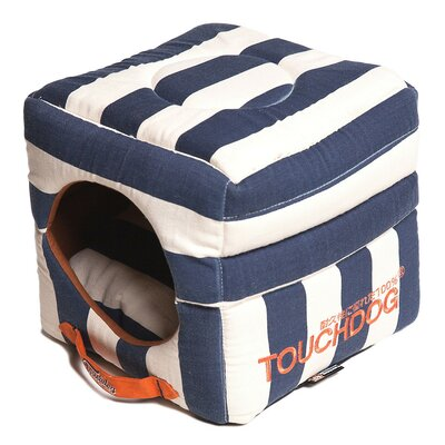 Polo-Striped Convertible and Reversible Squared 2-in-1 Collapsible Dog House Bed Color: Blue