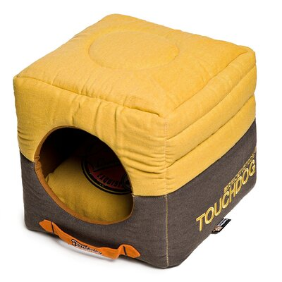 Convertible and Reversible Vintage Printed Squared 2-in-1 Collapsible Dog House Bed Color: Yellow