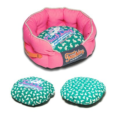 Rabbit-Spotted Premium Rounded Dog Bed Size: Large (25.6 L x 22.1 W), Color: Pink
