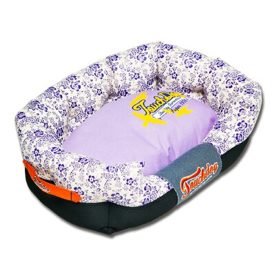 Floral-Galore Ultra-Plush Rectangular Rounded Designer Dog Bed Size: Medium (25.6 L x 15.8 W), Color: Purple