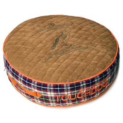 Bark-Royale Posh Rounded and Raised Designer Fleece Plaid Dog Bed Size: Small (21.7 L x 21.7 W), Color: Light Brown