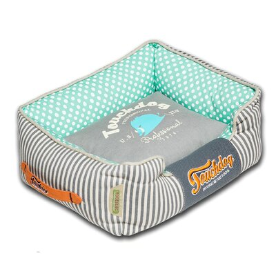 Polka-Striped Polo Easy Wash Rectangular Fashion Dog Bed Size: Medium (21.7 L x 17.7 W), Color: Light Blue