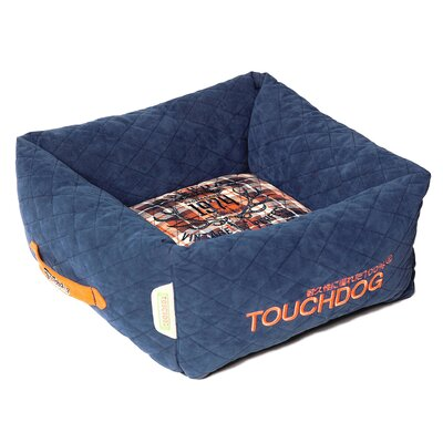 Exquisite-Wuff Posh Rectangular Diamond Stitched Fleece Plaid Dog Bed Color: Dark Blue, Size: Large (23.6 L x 23.6 W)