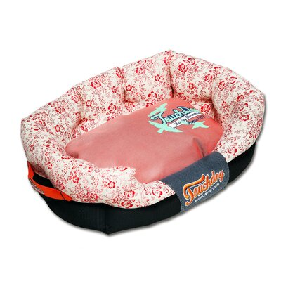 Floral-Galore Ultra-Plush Rectangular Rounded Designer Dog Bed Size: Medium (25.6 L x 15.8 W), Color: Red