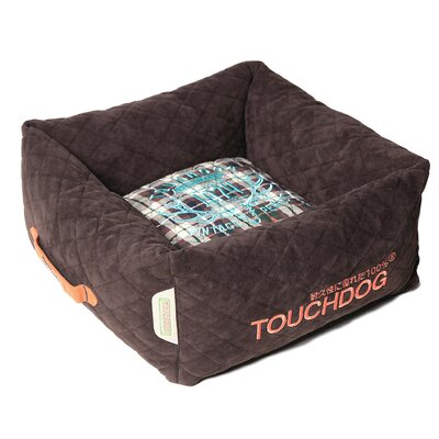 Exquisite-Wuff Posh Rectangular Diamond Stitched Fleece Plaid Dog Bed Size: Large (23.6 L x 23.6 W), Color: Dark Brown