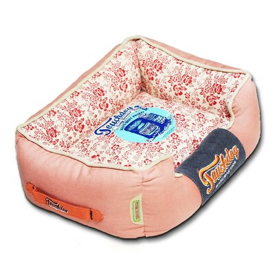 Floral-Galore Vintage printed Ultra-Plush Rectangular Designer Dog Bed Size: Medium (21.7 L x 17.7 W), Color: Orange