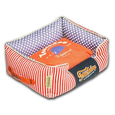 Polka-Striped Polo Easy Wash Rectangular Fashion Dog Bed Size: Medium (21.7 L x 17.7 W), Color: Orange