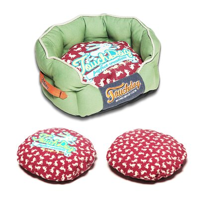 Rabbit-Spotted Premium Rounded Dog Bed Size: Medium (21.7 L x 19.4 W), Color: Red