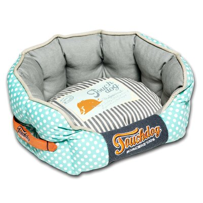 Polka-Striped Polo Rounded Fashion Dog Bed Size: Medium (21.7 L x 19.4 W), Color: Blue