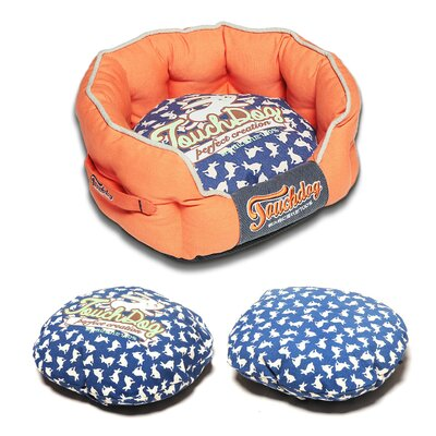 Rabbit-Spotted Premium Rounded Dog Bed Color: Orange, Size: Large (25.6 L x 22.1 W)