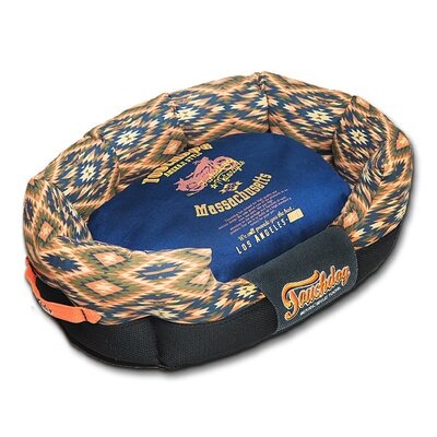 70s Vintage-Tribal Throwback Diamond Patterned Ultra-Plush Rectangular Rounded Dog Bed Size: Medium (25.6 L x 15.7 W), Color: Blue