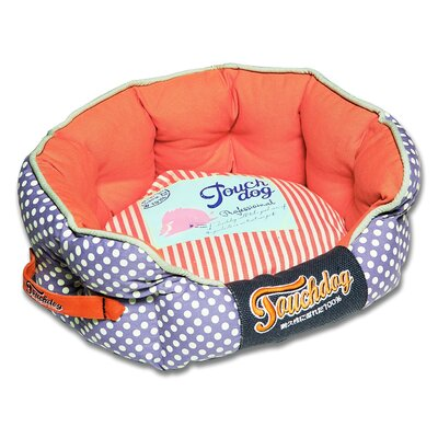 Polka-Striped Polo Rounded Fashion Dog Bed Size: Medium (21.7 L x 19.4 W), Color: Orange