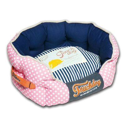 Polka-Striped Polo Rounded Fashion Dog Bed Color: Pink, Size: Medium (21.7 L x 19.4 W)