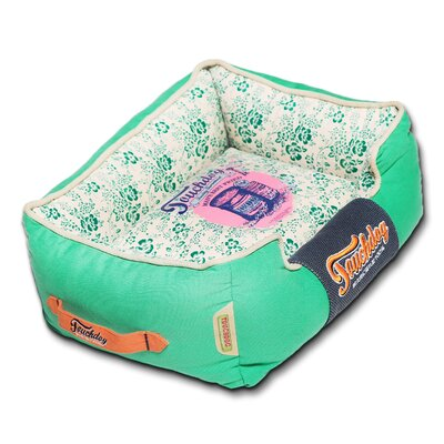 Floral-Galore Vintage printed Ultra-Plush Rectangular Designer Dog Bed Color: Blue, Size: Large (25.6 L x 21.7 W)