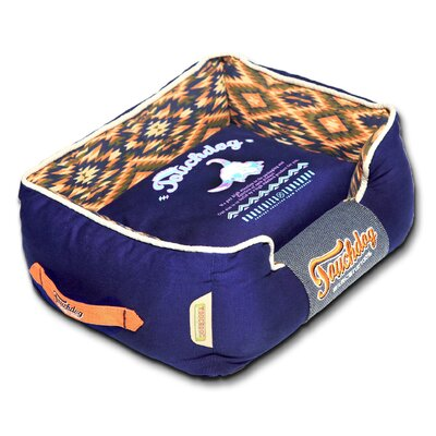 70s Vintage-Tribal Throwback Diamond Patterned Ultra-Plush Rectangular-Boxed Dog Bed Size: Medium (21.7 L x 17.7 W), Color: Blue