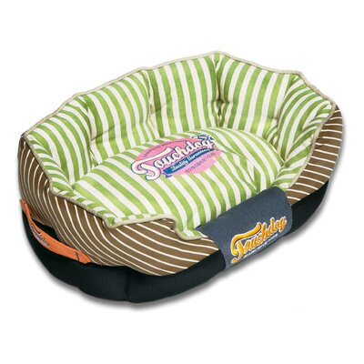 Neutral-Striped Ultra-Plush Rectangular Rounded Designer Dog Bed Size: Medium (25.6 L x 15.7 W), Color: Brown