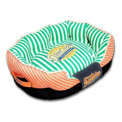 Neutral-Striped Ultra-Plush Rectangular Rounded Designer Dog Bed Size: Large (29.6 L x 19.7 W), Color: Orange