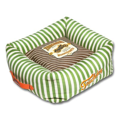 Neutral-Striped Ultra-Plush Easy Wash Squared Designer Dog Bed Color: Brown, Size: Large (23.6 L x 23.6 W)