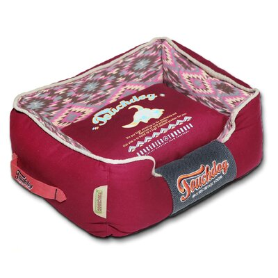 70s Vintage-Tribal Throwback Diamond Patterned Ultra-Plush Rectangular-Boxed Dog Bed Size: Medium (21.7 L x 17.7 W), Color: Pink