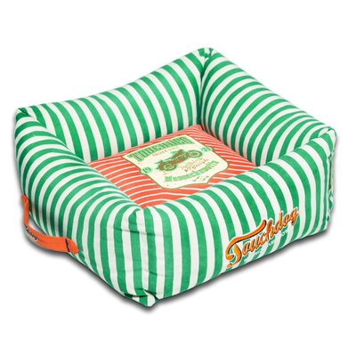 Neutral-Striped Ultra-Plush Easy Wash Squared Designer Dog Bed Size: Large (23.6 L x 23.6 W), Color: Orange
