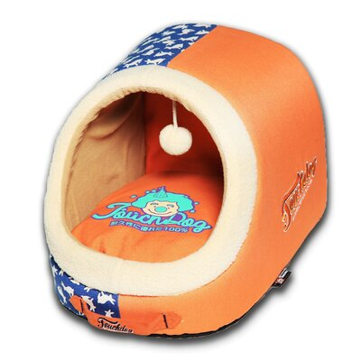 Rabbit-Spotted Active-Play Indoor Panoramic Designer Dog Bed Color: Orange