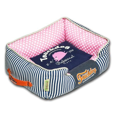 Polka-Striped Polo Easy Wash Rectangular Fashion Dog Bed Size: Large (25.6 L x 21.7 W), Color: Blue