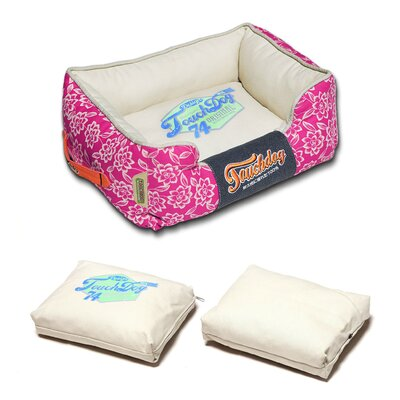 Rose-Pedal Patterned Premium Rectangular Dog Bed Size: Medium (21.7 L x 17.7 W), Color: White