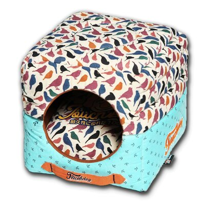 Chirpin-Avery Convertible and Reversible Squared 2-in-1 Collapsible Dog House Bed