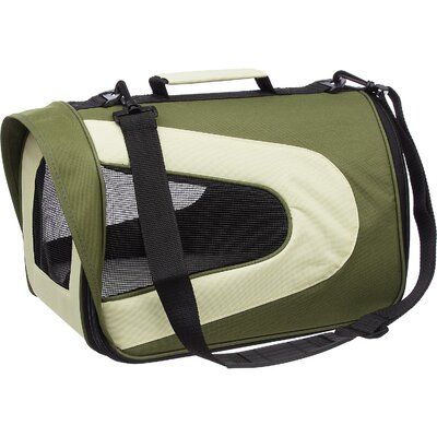 Holgate Zippered Sporty Mesh Pet Carrier Size: Large (10.5 H x 10.2 W x 18.1 L), Color: Green and Beige