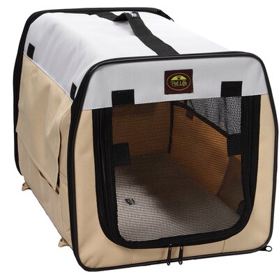 Zippered Easy Carry Pet Carrier Size: Medium (20.5 H x 20.5 W x 27.5 L), Color: Khaki and Grey