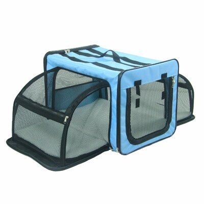 Lachlan Dual-Expandable Wire Folding Lightweight Collapsible Travel Pet Crate Size: 13.4 H x 13.4 W x 19.3 L, Color: Blue