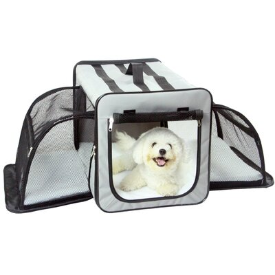 Capacious Dual-Expandable Wire Folding Lightweight Collapsible Travel Pet Crate Size: 24.8 H x 24.8 W x 35.8 L, Color: Gray
