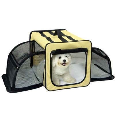 Lachlan Dual-Expandable Wire Folding Lightweight Collapsible Travel Pet Crate Size: 13.4 H x 13.4 W x 19.3 L, Color: Khaki