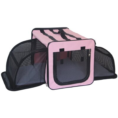 Capacious Dual-Expandable Wire Folding Lightweight Collapsible Travel Pet Crate Size: 15.7 H x 15.7 W x 22.8 L