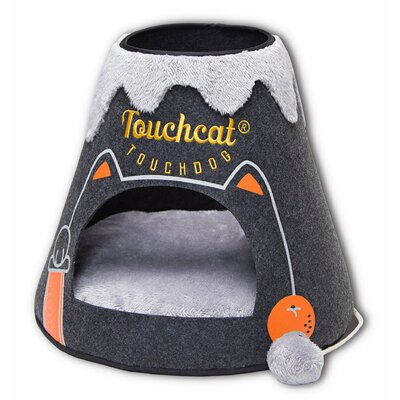 Touchcat Molten Lava Designer Triangular Cat Pet Kitty Bed House With Toy Color: Black/White