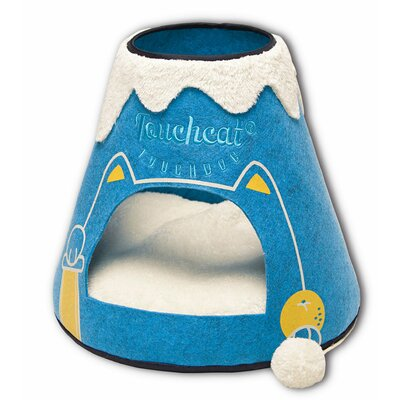 Touchcat Molten Lava Designer Triangular Cat Pet Kitty Bed House With Toy Color: Blue/White