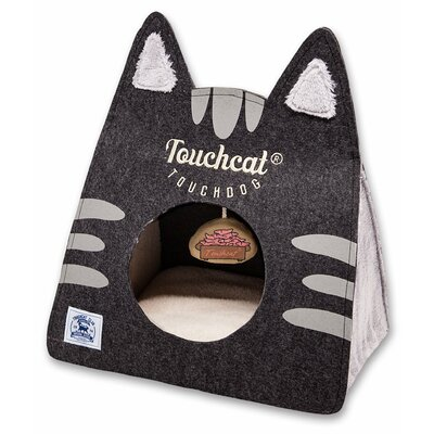 Touchcat Kitty Ears Travel On-The-Go Collapsible Folding Cat Pet Bed House With Toy Color: Black