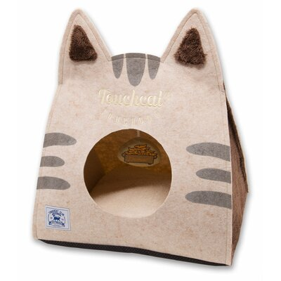 Touchcat Kitty Ears Travel On-The-Go Collapsible Folding Cat Pet Bed House With Toy Color: Brown
