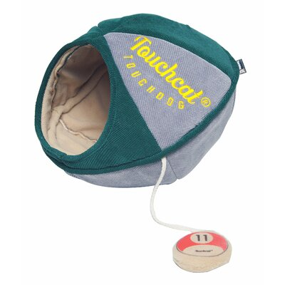 Touchcat Saucer Oval Collapsible Walk-Through Pet Cat Bed House With Play Active Toy Color: Green