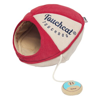 Touchcat Saucer Oval Collapsible Walk-Through Pet Cat Bed House With Play Active Toy Color: Red