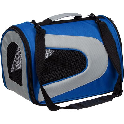 Zippered Sporty Mesh Pet Carrier Size: Medium (10.5 H x 8.5 W x 13 L), Color: Blue