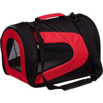 Zippered Sporty Mesh Pet Carrier Size: Medium (10.5 H x 8.5 W x 13 L), Color: Red