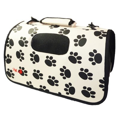Airline Approved Zippered Folding Cage Pet Carrier Color: Paw Print Design, Size: Medium