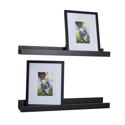 4 Piece Ledge Floating Shelf & Picture Frame Set Finish: Black
